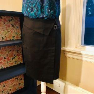 NWT Karen Millen Black Fold-over Pencil Skirt